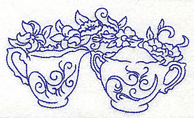 Embroidery Design: Floral creamer and sugar bowl large 4.98w X 2.86h