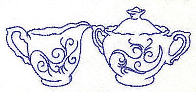 Embroidery Design: Creamer and sugar bowl 4.93w X 2.15h