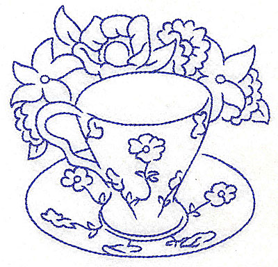Embroidery Design: Floral teacup large4.55w X 4.45h
