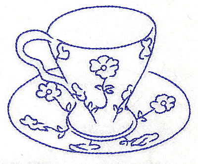 Embroidery Design: Teacup with flowers 3.88w X 3.14h