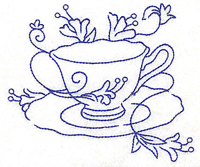 Embroidery Design: Teacup with flowers large 4.59w X 4.02h