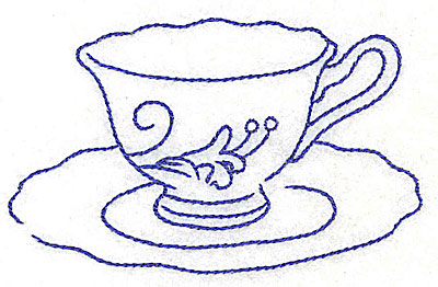 Embroidery Design: Floral teacup with lily3.86w X 2.41h