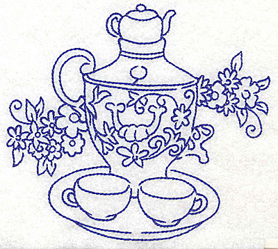 Embroidery Design: Teapot with teacups on tray large 4.96w X 4.54h