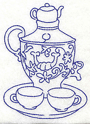 Embroidery Design: Teapot with teacups on tray 3.57w X 4.94h