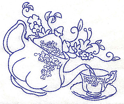 Embroidery Design: Teapot pouring tea into teacup large 4.97w X 4.04h