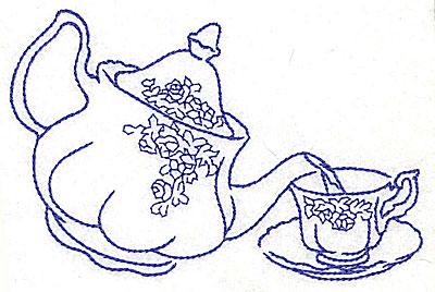 Embroidery Design: Teapot pouring tea into teacup 4.97w X 3.36h