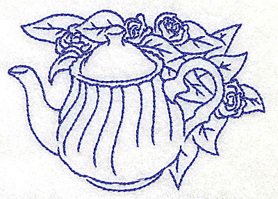 Embroidery Design: Teapot with roses small 3.85w X 2.80h