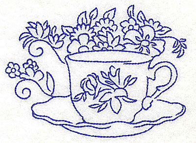 Embroidery Design: Teacup with flowers large 4.58w X 3.38h