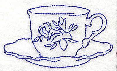 Embroidery Design: Floral teacup 3.86w X 2.20h