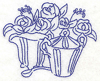 Embroidery Design: Creamer sugar bowl spoon and flowers small 3.85w X 3.16h
