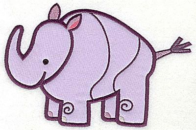Embroidery Design: Rhinoceros Applique4.55h x 6.89w