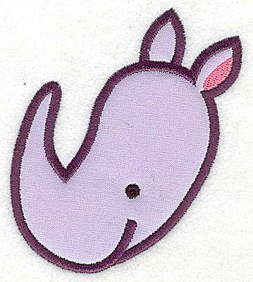 Embroidery Design: Rhinoceros Head Applique3.88h x 3.28w