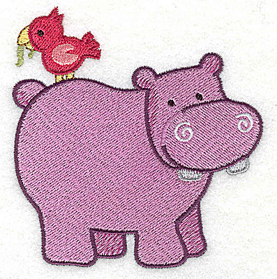 Embroidery Design: Hippo With Bird Small3.53h x 3.40w