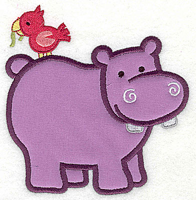 Embroidery Design: Hippo With Bird Applique4.91h x 4.79w