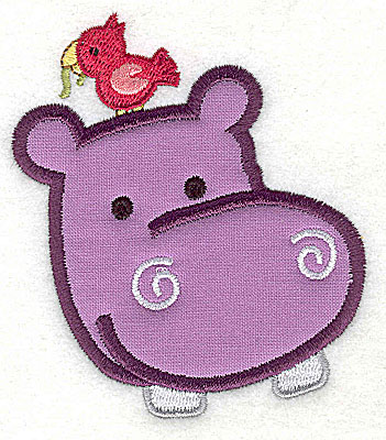 Embroidery Design: Hippos Head With Bird Applique3.87h x 3.38w
