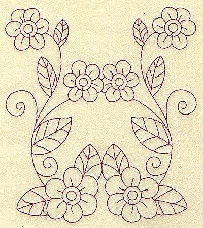 Embroidery Design: Floral violet 2 large 5.44w X 6.20h