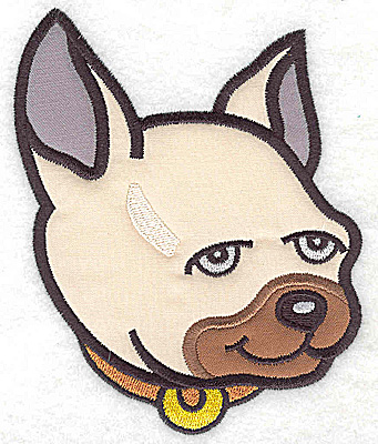 Embroidery Design: Devoted dog H triple applique 4.06w X 4.97h