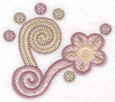 "Embroidery Design: Floral swirl small  3.19""h x 3.64""w"