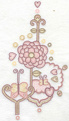 """Embroidery Design: Floral butterflies A  10.68""""h x 5.98""""w"""