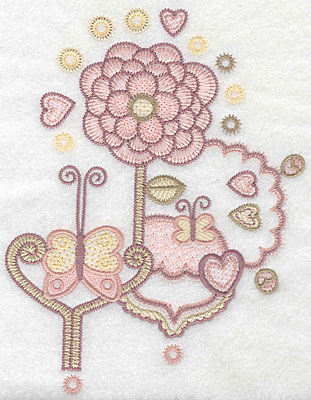 "Embroidery Design: Floral butterflies B  7.85""h x 5.98""w"