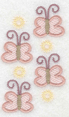 "Embroidery Design: Butterflies four  3.54""h x 2.11""w"