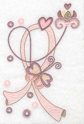 """Embroidery Design: Butterfly flower and ribbon  6.91""""h x 4.57""""w"""