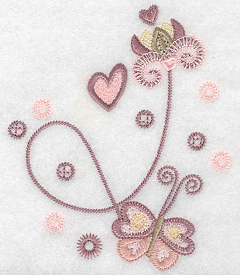 "Embroidery Design: Butterfly flower heart  5.35""h x 4.46""w"