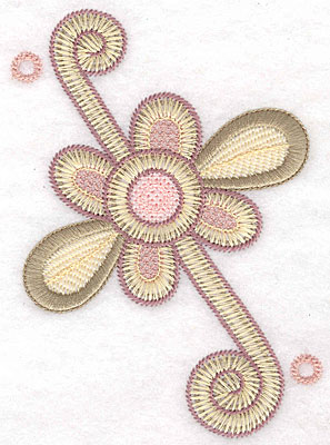 "Embroidery Design: Flower swirl large  5.26""h x 3.69""w"