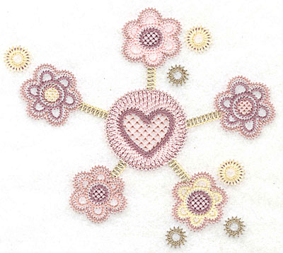 "Embroidery Design: Heart with flowers small  4.60""h x 5.17""w"