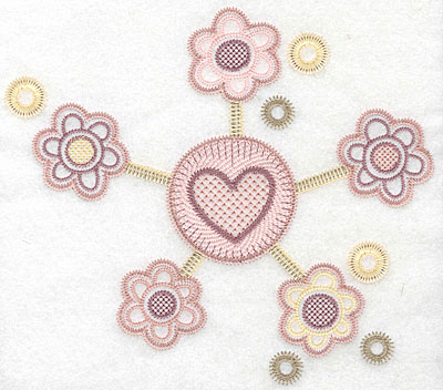 "Embroidery Design: Heart with flowers large  6.90""h x 7.74""w"