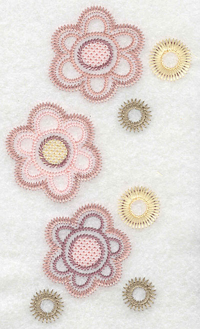 "Embroidery Design: Flower trio large  5.80""h x 3.27""w"