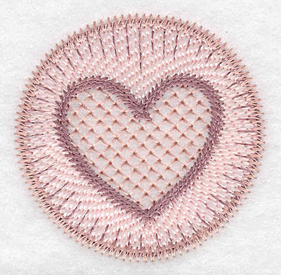"""Embroidery Design: Heart motif small  2.36""""h x 2.37""""w"""