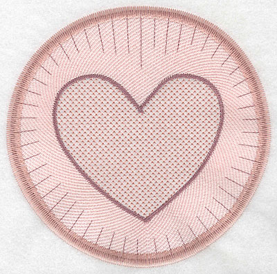 """Embroidery Design: Heart motif large  7.19""""h x 7.22""""w"""