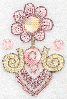 """Embroidery Design: Flower motif large  4.97""""h x 3.31""""w"""