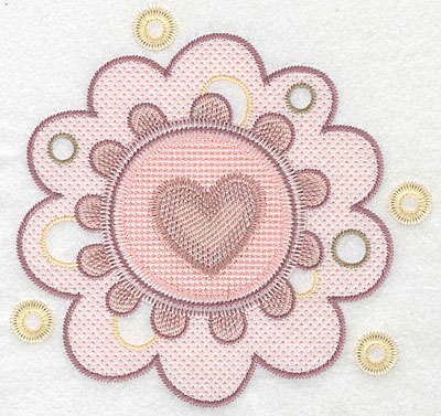 "Embroidery Design: Heart in flower large  6.98""h x 7.32""w"
