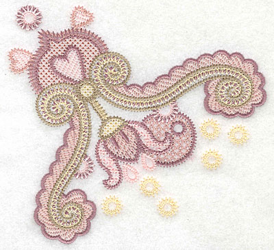 """Embroidery Design: Heart swirl flower small  4.65""""h x 5.00""""w"""