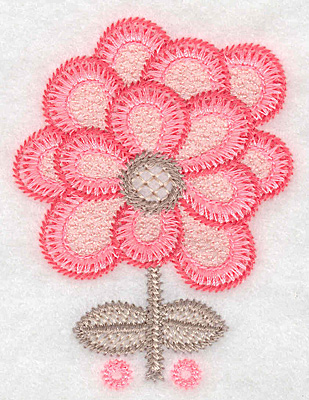 """Embroidery Design: Flower A small  3.46""""h x 2.58""""w"""