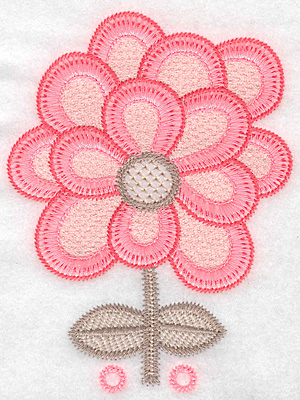 """Embroidery Design: Flower A large  5.14""""h x 3.84""""w"""