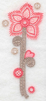 "Embroidery Design: Flower B small  4.96""h x 2.17""w"