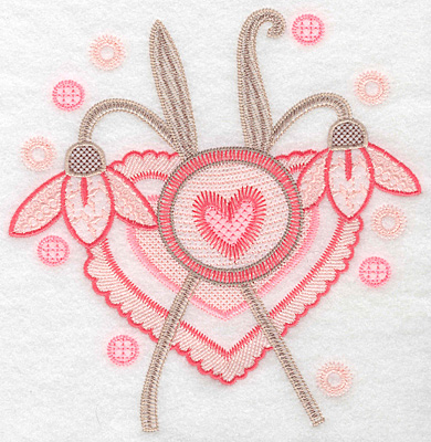 """Embroidery Design: Hearts and flowers large  7.13""""h x 7.14""""w"""