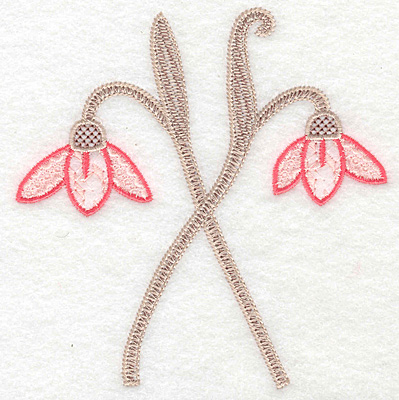"""Embroidery Design: Flowers crossed  4.89""""h x 4.76""""w"""