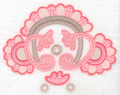 "Embroidery Design: Floral fan design large  5.74""h x 7.29""w"