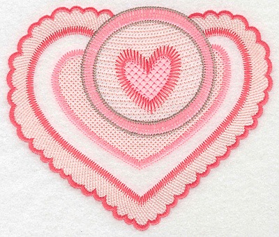 """Embroidery Design: Heart duo large  4.98""""h x 5.92""""w"""