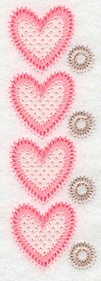 "Embroidery Design: Heart border verticle  4.99""h x 1.61""w"