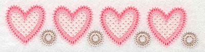 "Embroidery Design: Heart border horizontal  1.28""h x 5.99""w"