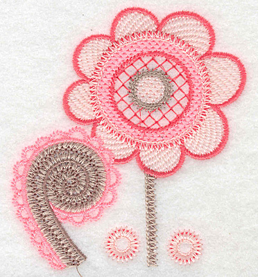 """Embroidery Design: Flower with fiddlehead small  3.76""""h x 3.24""""w"""