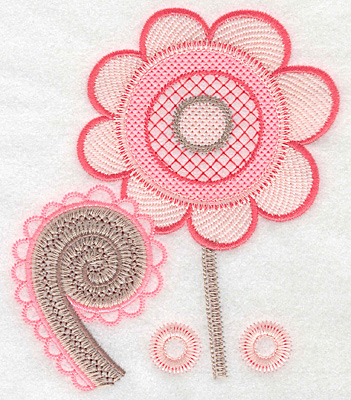 "Embroidery Design: Flower with fiddlehead large  5.62""h x 4.85""w"