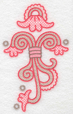 "Embroidery Design: Scalloped flower swirls  6.70""h x 4.13""w"