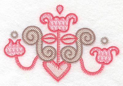"""Embroidery Design: Floral candelabra small  3.79""""h x 5.61""""w"""