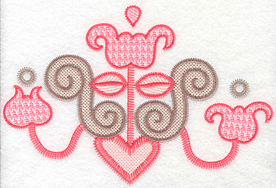 """Embroidery Design: Floral candelabra large  5.66""""h x 8.39""""w"""